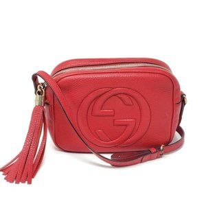 Auth Gucci Soho Disco Camera Red Crossbody Bag